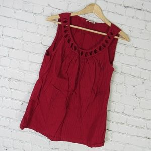 Ann Taylor Loft Shirt Top Tank Womens Size 8 Red